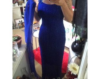 vintage blue sparkly gown