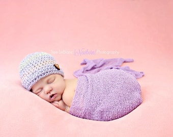 Purple Newborn Hat with Heart Wood Button - Newborn Baby Girl Beanie - Coming Home Hat for Baby Girl - Purple Pink and Light Grey Mix Beanie