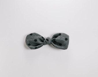 Hair Bow - Grey with Black Polka Dots