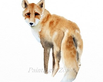 fox original watercolor painting woodland animals size: 9 x 12 in (23 x 31 cm)