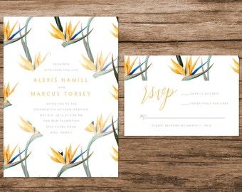 Hawaiian Wedding Invitation, Hawaiian Flowers Wedding Invitation, Birds of Paradise