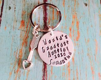 Hand stamped Aunt gift keychain