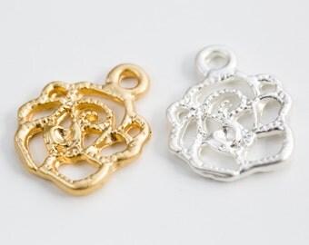 Rose silhouette hole matt pendant, flower pendant, DIY pendant, DIY jewelry, jewelry gift, Beading supplie, brass charm, jewelry pendant