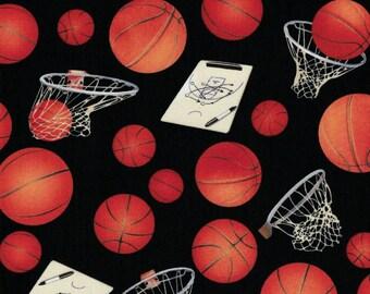 Basketballs and Hoops Fabric - Elizabeth's Studio Fabrics- 100% Cotton Fabric