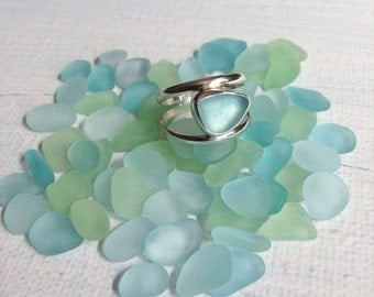 Made to Order Eye of the Storm Sea Glass Ring - Double Band Sea Glass Ring Made to Size