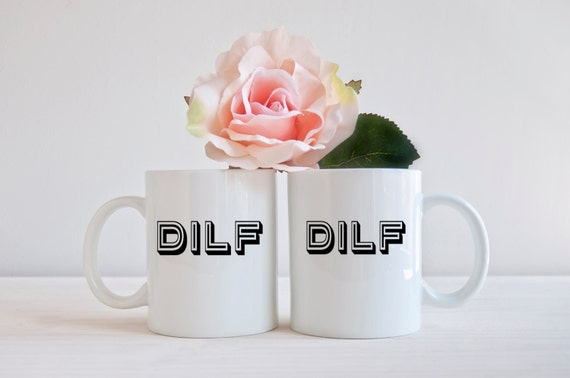 Funny couples coffee mug, MILF, DILF, matching mugs, LGBT,  his and hers, baby shower gift, pride,  gifts for couples, new parent,