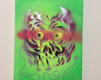 "Electric Skull 12""x9"" original painting"