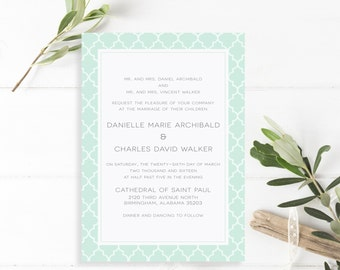 Printable Wedding Moroccan Invitation Suite - Danielle Collection in Mint, Gray & White or Custom Colors- DIY - PDF or Printed Invites