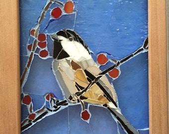 Chickadee Stained Glass Mosaic