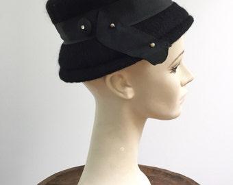 1950s Vintage Black Wool Hat