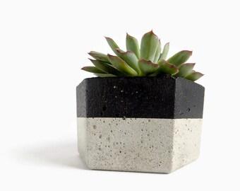 Urban Hexagon Concrete Pot for Succulent Home Decor Grey Planter