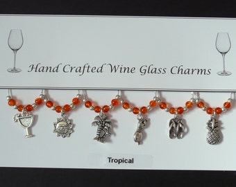 Tropical Set of Wine Glass Charms