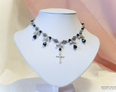 Rose Ribbons & Cross choker Short Necklace  - Black x silver - Elegant Gothic and Lolita jewelry