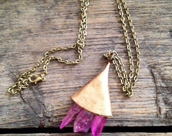 Pink Quartz and Bell Necklace