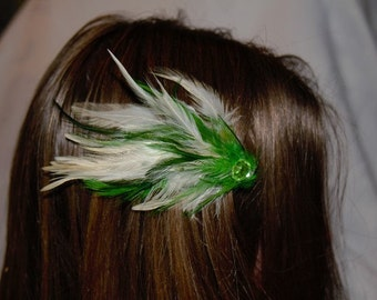 Green and white feather barrette