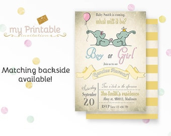 Elephant Gender Reveal Invitation / Digital Printable Baby Shower Invite / DIY Party