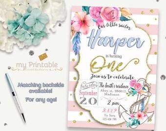 Anchor Invitation / Printable Nautical Invite / Diy Birthday Party