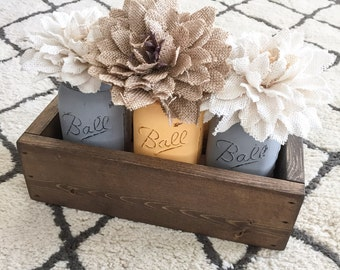 Rustic Planter Box Centerpiece With Three Painted Mason Jars