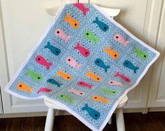 CROCHET PATTERN Baby Blanket, Fish Baby Blanket Crochet Pattern, Blanket Pattern for Kids, Crochet Blanket for Babies, Crochet Fish Pattern