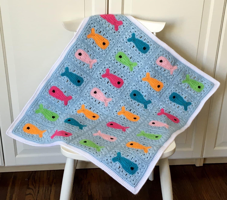 CROCHET PATTERN Baby Blanket Fish Baby Blanket Crochet