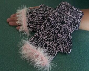 Hand knit fingerless gloves for women