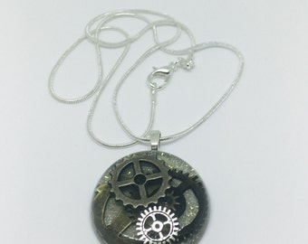 Steampunk Gears and Cogs Round Silver with Gold Glitter Necklace, Resin Jewelry