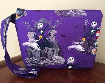 Nightmare Before Christmas/Jack Skellington/Halloween Town Print Large Wristlet (purple)