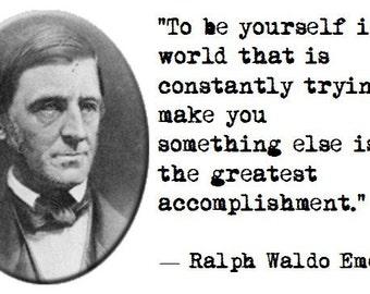 Ralph Waldo Emerson Quote & Portrait on 100% Preshrunk Cotton Tee Shirt