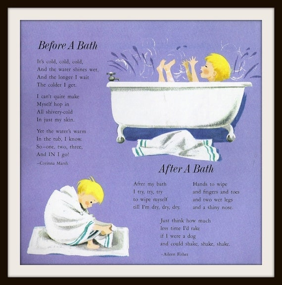 Items Similar To Bath Time Poems Book Print 1977