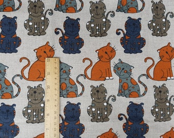 """Linen fabric by the meter, linen fabric with cats, flax fabric, grey linen by the yard, 150cm 59"""" animal print linen fabric, cats print"""