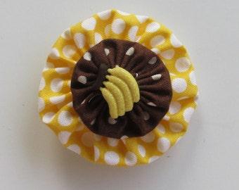 Banana Hair Clip, YoYo Hair Clips, Yellow and Brown, Polka Dots, eclectiKIDS
