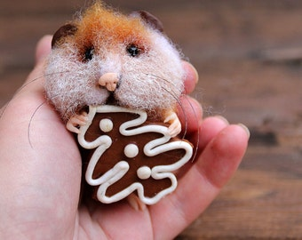 Needle felt realistic hamster with christmas gingerbread cookie, hamster in christmas stocking, felted mouse,  felt animal,