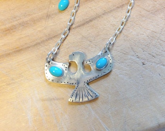 Turquoise and sterling silver handmade necklace. Sterling silver necklace.  Turquoise necklace. Eagle Necklace