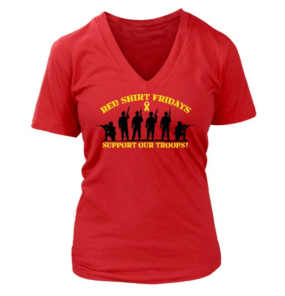 Red fridays ladies v neck shirt for Red support our troops shirts