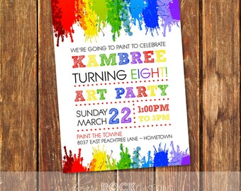 Art Birthday Party Invitation, Painting Party
