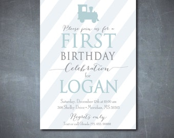 Simple but Adorable Birthday Invitation / DIGITAL FILE / printable / wording, colors and age can be changed