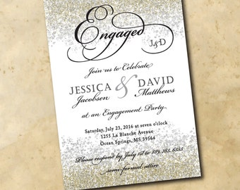 Engagement Party Invitation printable gold/digital, glitter, silver, holiday, black, confetti, wedding, calligraphy/wording can be changed