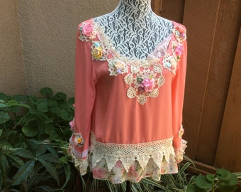 ROSE Sherbet Art to wear Blouse Long Sleeve  Handcrafte Upcycled sz S/M