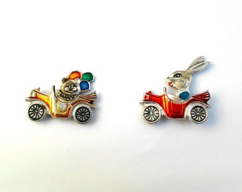 Set of 2 Soviet children pin badges - Bear and Rabbit on cars, cartoon character / Made in USSR, 1980s