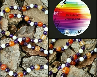 Amethyst, Carnelian and Moonstone Necklace