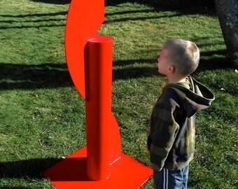 Metal Sculpture, Free Standing Metal Sculpture, Landscape Art, Large Red Commercial Lawn Sculpture, Modern Art Foyer, Outdoor Sculpture