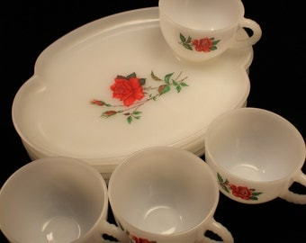 Milk Glass Luncheon Set, Vintage Federal Milk Glass Rosecrest Pattern 8 Piece Set, Lunch, Snack Trays/Cups, Roses