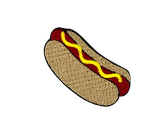 Hot Dog Emoji Embroidered Iron On Patch - FREE SHIPPING