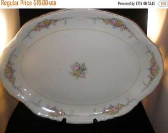 W.S. George Radisson Platter Vintage 1970's Floral Gold China Serving Dining Large Made in USA #1738 - Kit0161