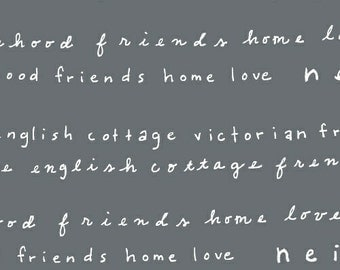 Gray Word Text Fabric - Neighborhood by Alyson Beaton for Windham Fabrics - Words in Gray - Fabric by Half Yard