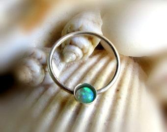 Green Opal Septum Ring, Opal Nose Ring, Septum Hoop, Opal Septum Piercing