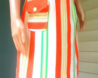 Vintage Orange White & Green Striped Women's Skirt - Mod 60s!  SUPER CUTE! Size S
