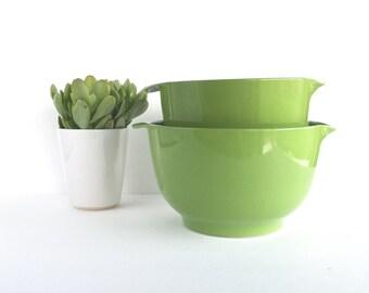 Mid Century Danish Modern Rosti Green Mixing Bowls Made in Denmark