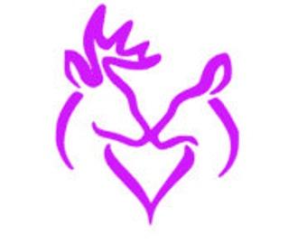 Buck and Doe Heart Vinyl. Hunting.Decal/Sticker