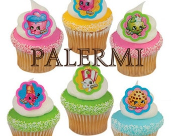 Shopkins Cupcake Toppers Plastic Rings, Shopkins Party Favors